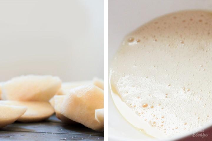 Poires et beurre pour Fondant poire et crème de marrons